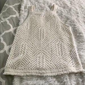 White sleeveless sweater